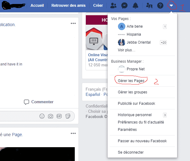 page professionnelle facebook